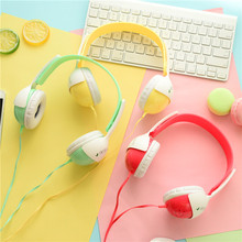 2016 Hotsale Foldable Kids Gift Headset Macaron Headset Cartoon Candy Color Fruit Headphones for Mp3 Smartphone Free Shipping