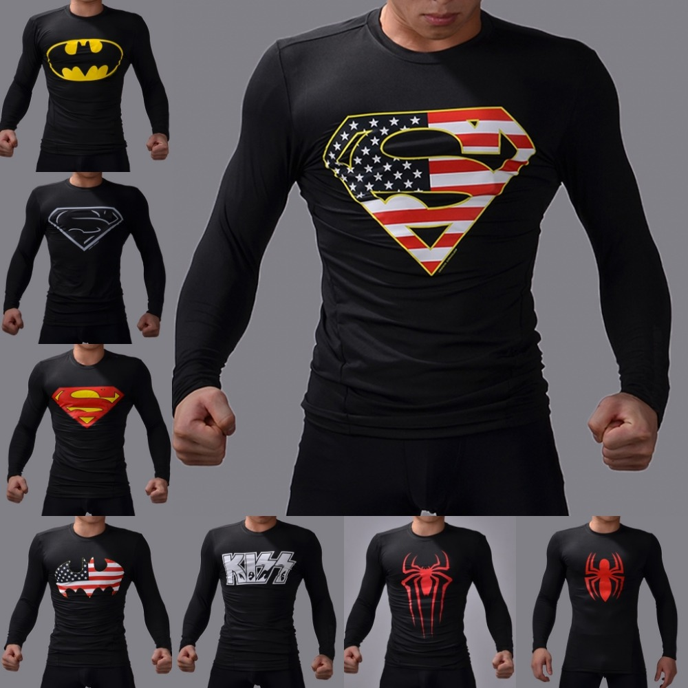 High Quality NEW 2016 Marvel Super Hero jersey Sport Long T shirt Men compression men t shirt(China (Mainland))