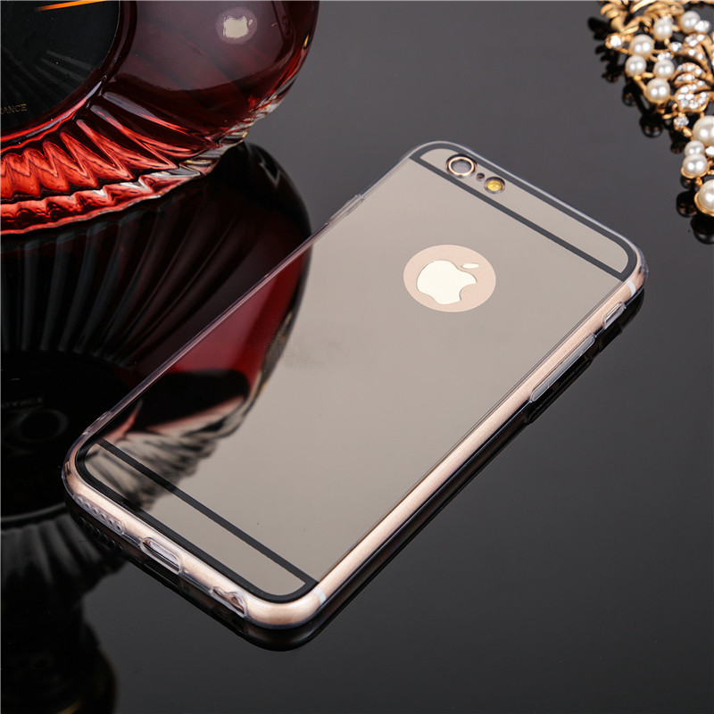 Luxury Shinny Mirror Soft TPU Silicon Edge Ultra thin Business Phone Back Cover Cases for iphone 6 6s 6plus 6splus 7 7plus