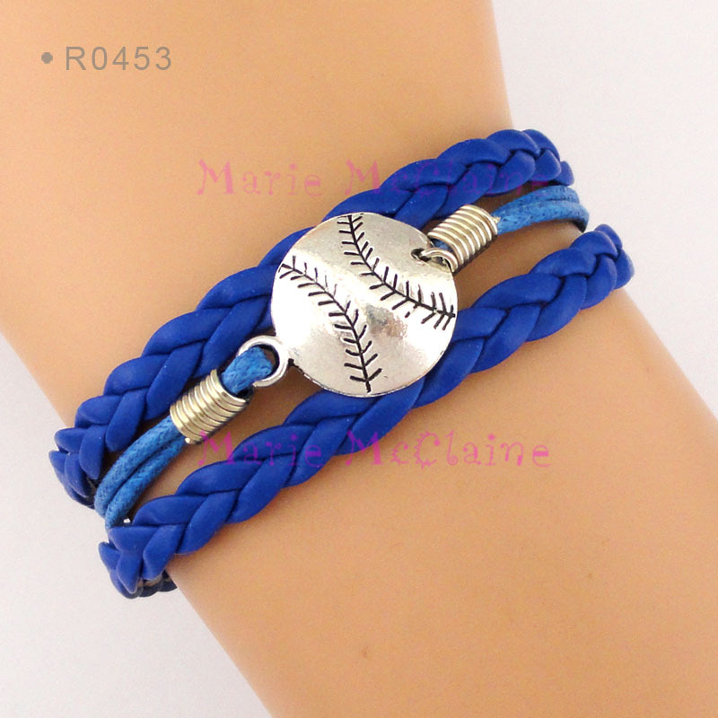 (30 PCS/lot) Baseball Bracelets Softball Bracelets Baseball Team Softball Team Wax Cord Leather Bracelets - Jewelry(China (Mainland))