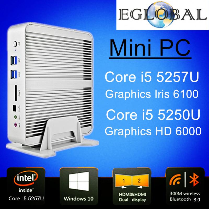 Fanless Barebone i5 Mini PC Windows 10 Broadwell Intel Core i5 5257U 4K HTPC Graphics Iris 6100 Optical+2*Nics+2*HDMI+300M Wifi(China (Mainland))