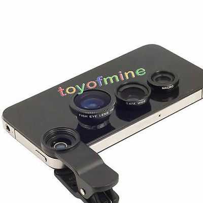 Universal Clip 3in1 Fish eye Macro Wide Angle Lens for All phones iPhone 5S 5C(China (Mainland))