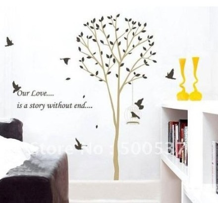 contemporary tall tree leaves falling birds flying approx 70 inches or 6 feet wall sticker. Black Bedroom Furniture Sets. Home Design Ideas