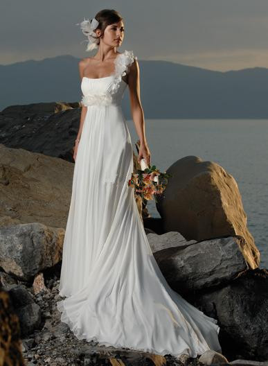 Vestidos de noiva 2015 New Arrival Chiffon One Shoulder Bridal Gown White & Ivory Beach Wedding Dresses(China (Mainland))
