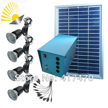 20W Solar Power System for 4PCS LED lamps lighting and 1PCS cellphone charging