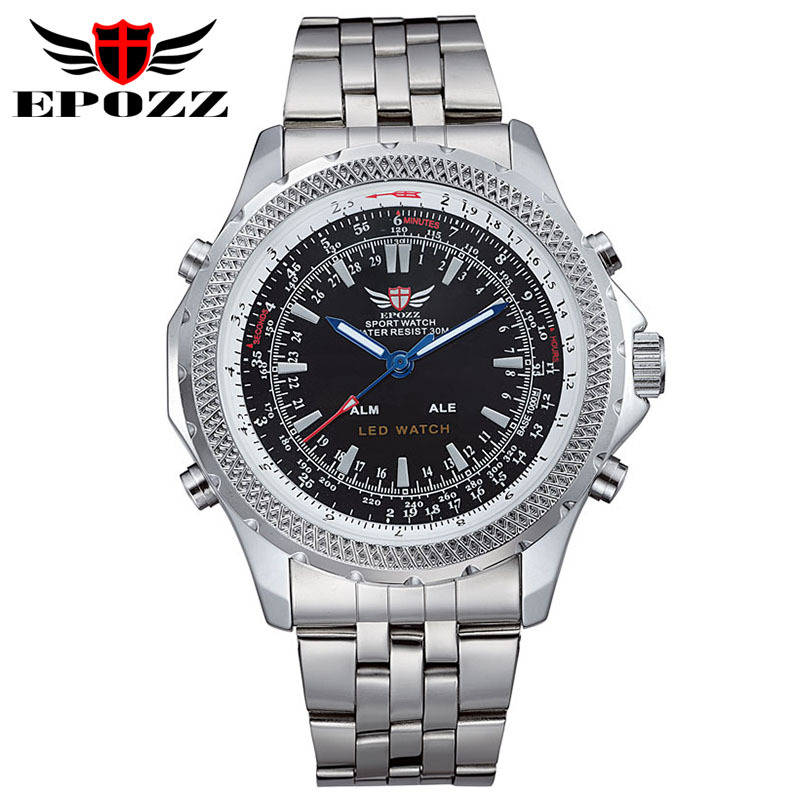 Spring Sales 2 Colors EPOZZ EP904 All Steel Military Quartz Wrist Watches Date Week Alarm 24 Hours LED Display Waterproof(China (Mainland))
