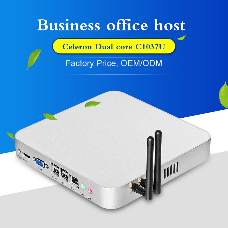 Cheapest Industrial PC ordenadores fanless celeron c1037u 1.8GHZ Support XP/Windows 7/8.1/10/Ubuntu HDMI+VGA 1*COM linux mini pc(China (Mainland))