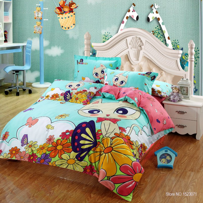 100 cotton cat print kids bedding set king queen twin size with quilt duvet cover bed sheet. Black Bedroom Furniture Sets. Home Design Ideas