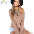 Spring Autumn Sexy Deep V Neck Cross Bandage Long Sleeve Sweaters 2016 Fashion Women Loose Tops