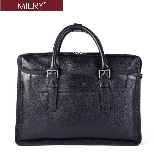 Holiday sale Free Shipping MILRY Genuine Leather  Business Men Briefcase  messenger shoulder Bag handbags Black CP0002-1