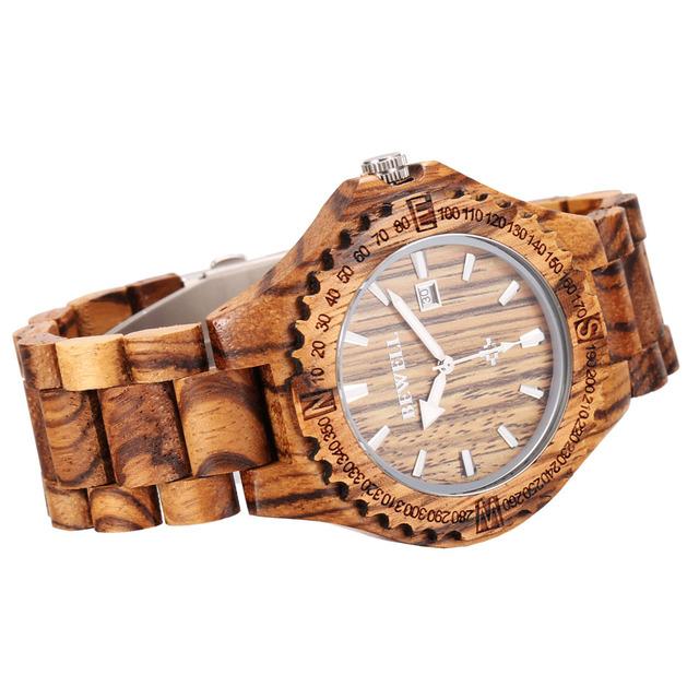 Zegarek męski BEWELL naturalne drewno z kalendarzem różne kolory