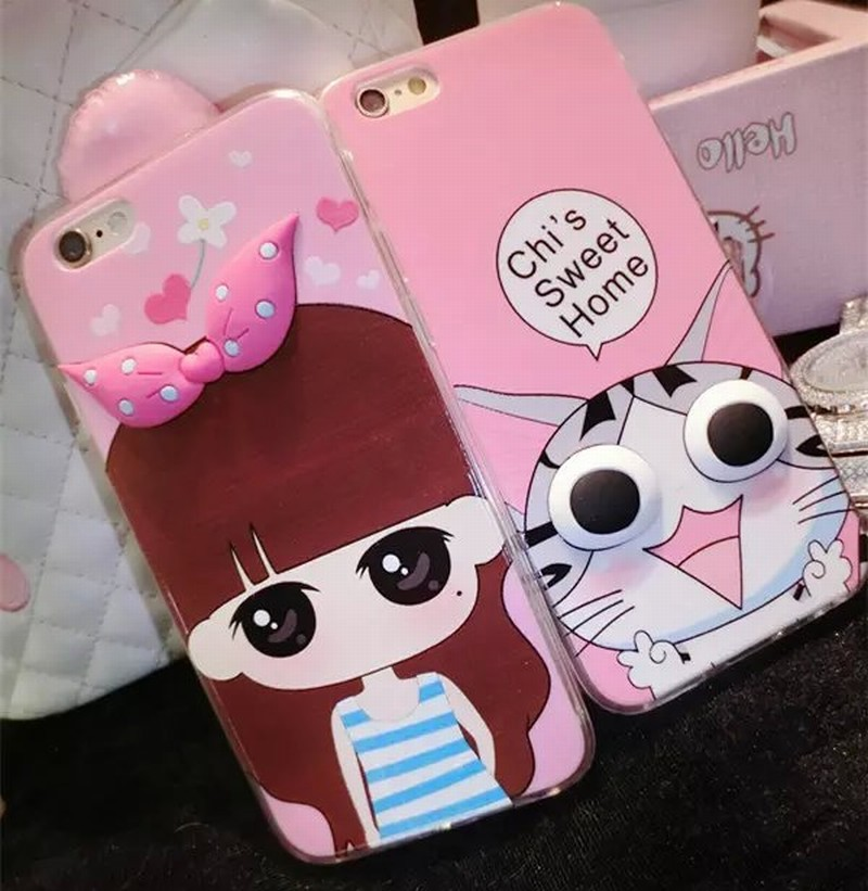 Phone Protective Case Iphone 5 5S Big Eyes Series Cartoon Lovely Girl Cat Voles Minion Pattern TPU Back Cover - Rose Angel store