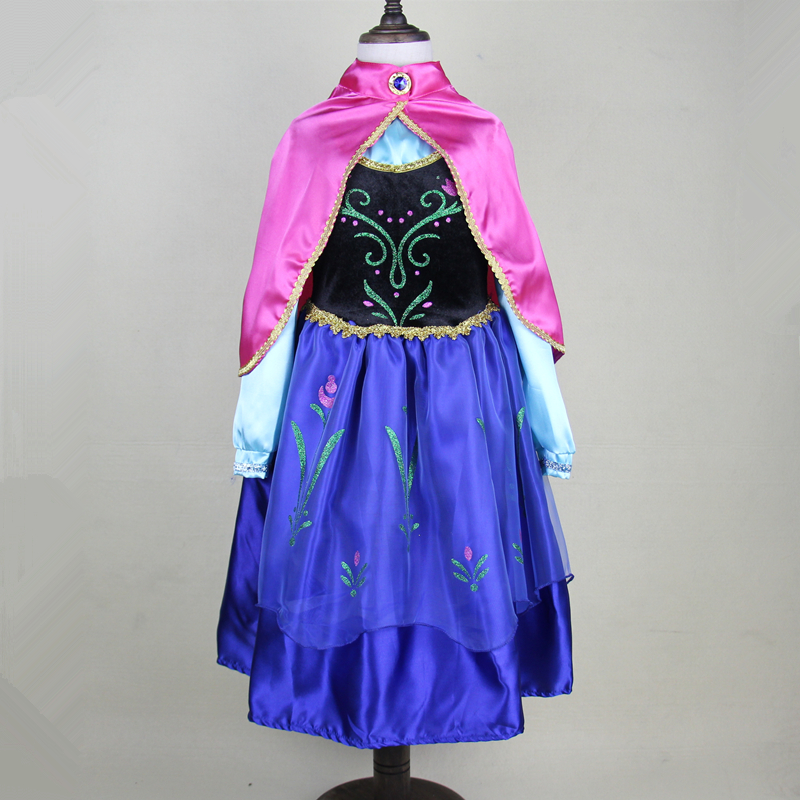 Snow Queen Kids Dresses For Girls Fever Anna Red Shawl Elsa Winter Party Birthday Christmas Wedding Costumes Princess Evening