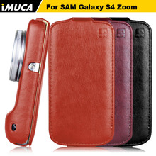 Original brand IMUCA Black Luxury Flip Leather Case Cover For Samsung Galaxy S4 Zoom C101 phone cases covers with Retail Box(China (Mainland))