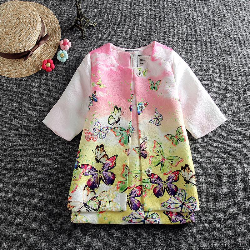 Kinder Kleidung Brand Fashion Girl Clothing High Quality Baby & Kids Floral Printed Kids Tracksuit (Coat+dress) Baby Girl Set(China (Mainland))