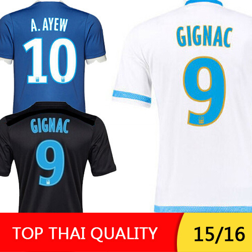 Thailand quality 2016 Marseille Soccer Jersey CHEYROU Marseille jersey 15 16 A.AYEW GIGNAC football soccer shirt maillot de foot(China (Mainland))