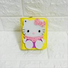 Preço em dólar Moda Magia Bonito Espelho de bolso Curto pequeno mini carteira Olá Kitty mulheres couro carteira portefeuille femme 40(China)