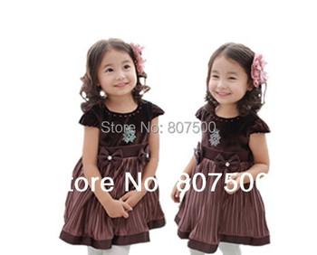 New children clothing princess dress girls vest fully thin cotton lace flowers bitter fleabane gauze plate dress Size 100~140