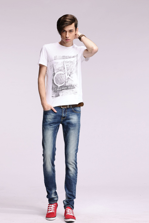 2016 New mens skinny  jeans ripped jeans biker jeans pantalones vaqueros hombre straight pants#YZ6609