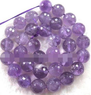 Jewelry 00599 12mm Amethyst Round Faceted Loose Beads 15