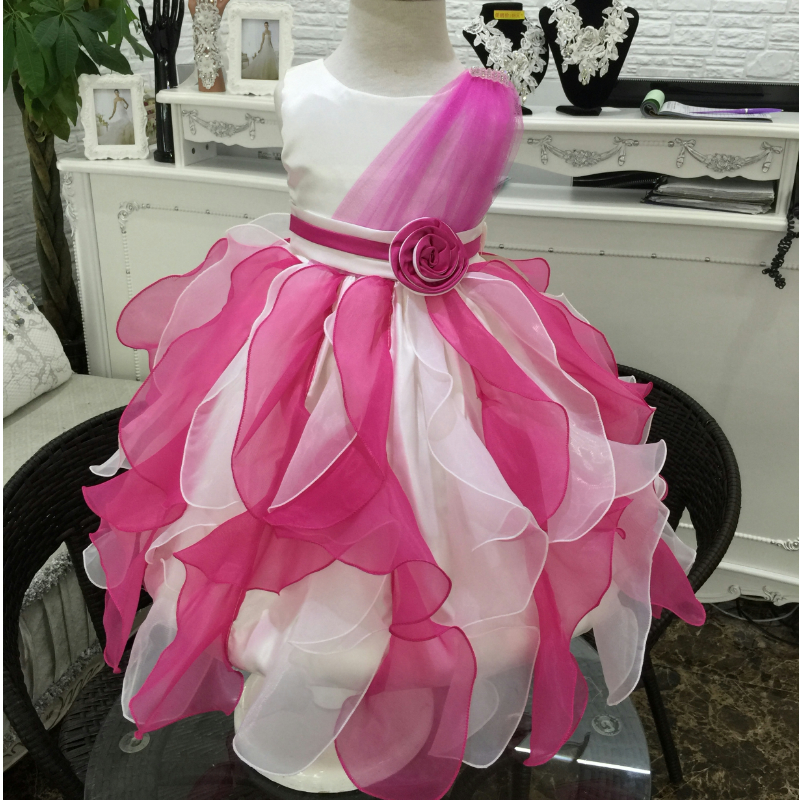 Free Shipping Girl Party Dress 2016 New Formal Gilr Prom Dress 2-10 Years Ivory Fuchsia Flower Girl Dresses Cheap in Stock Sales(China (Mainland))
