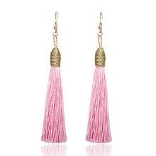 E0142 Bohemia Statement Tassel Earrings Black White Blue Red Pink Silk Fabric Long Drop Dangle Tassel Earrings For Women Jewelry(China)