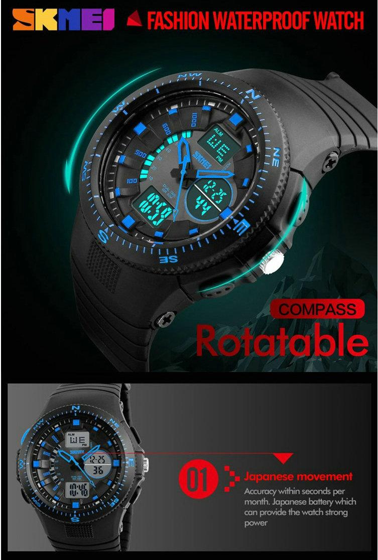 Водонепроницаемый военная наручные часы led backlight аналоговый цифровой спортивные часы человек