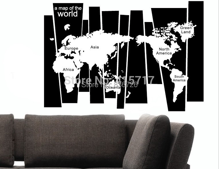 Newly Home Decoration Classic Creative Map of the World Wall Stickers Living Room Background Wall Stickers Modern Accessories(China (Mainland))