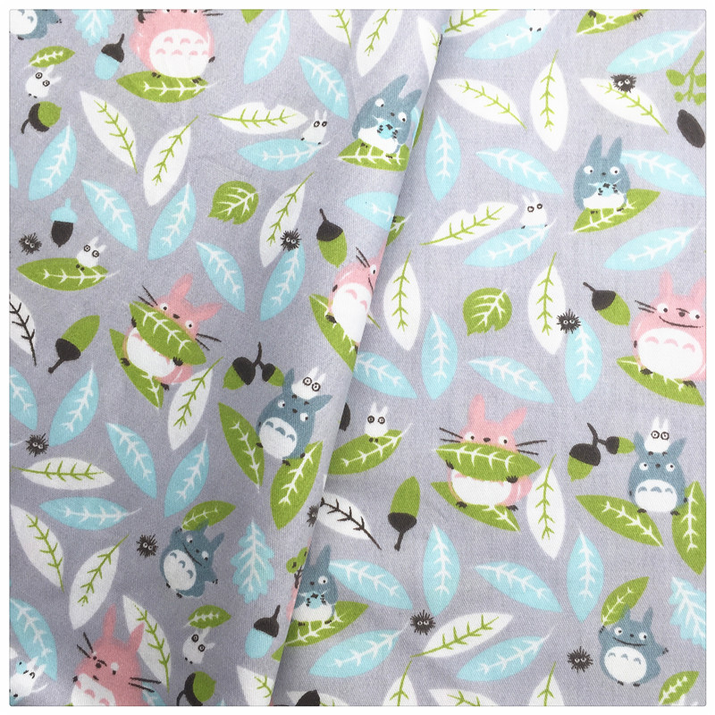 Gray Cartoon Totoro Printed Cotton Fabric clothing DIY Patchwork Tissue Sewing Bedding Bag Talasite Cloth HOME Textiles Fabric