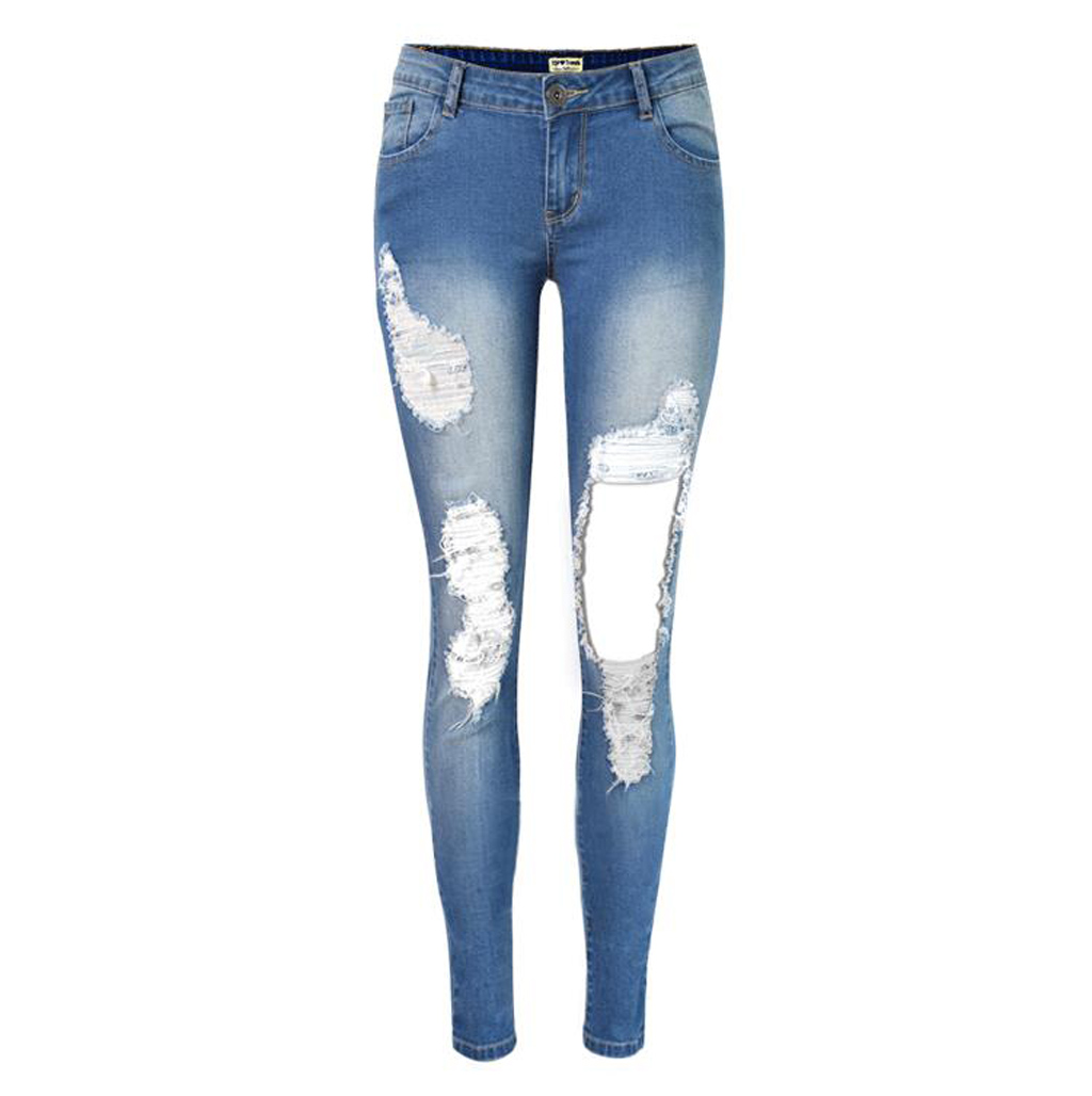 2016 Summer fashion new women ripped holes denim pencil pants casual big hole skinny jeans ...
