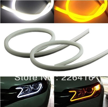 2x Tube Style White-Amber Switchback Headlight LED Strip Drl Daytime Light VW Golf GTi MK4 MK5 Sagitar Jetta MK6 - Brilliant marketing auto parts store