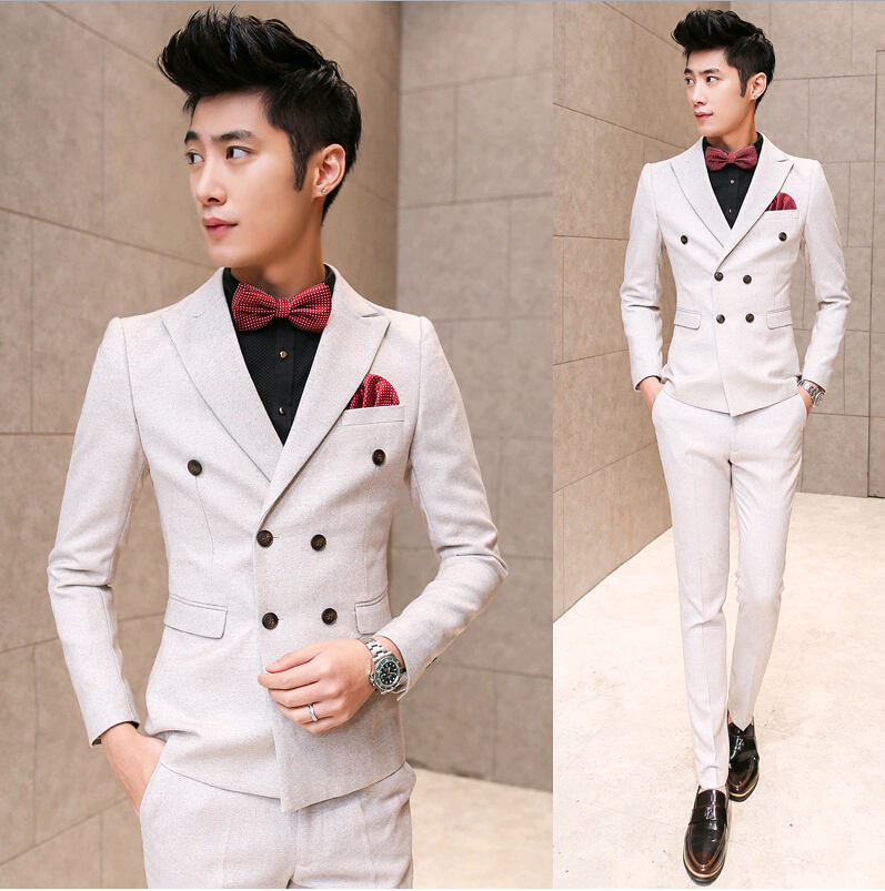 2015 Korean Italian Ivory Mens Tuxedo Suits Wedding Suits For Men White Party Clothing Groom Double Breasted Suit Sequin JacketОдежда и ак�е��уары<br><br><br>Aliexpress