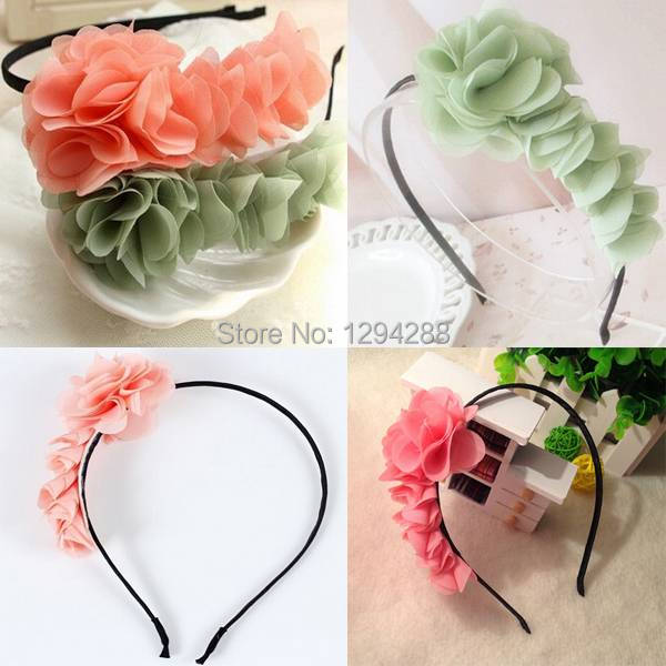 1PCS Baby Toddler Children Child Girls Headband Pink/Green Chiffon Flower Cute Hairband Hairbow 3Color Free Shipping DQ3ZZ8(China (Mainland))