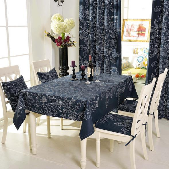 100% Cotton Table cloth Solid Black Leaves Pattern Tablecloth High Quality Cotton Table Cover for Dining Room Table Decor(China (Mainland))