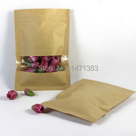 500pcs 14*20cm Kraft paper zip lock gift bag Plastic window zipper lock package Custom ziplock food packaging(China (Mainland))