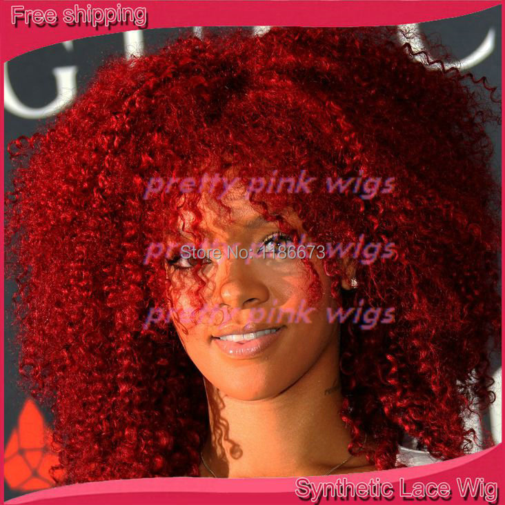 Curly Lace Front & Red Wig The Queen of Quality Fashion Lady Wigs(China (Mainland))