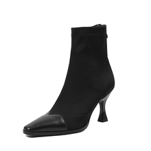 Frauen Stiefel Spitz Garn Elastische Stiefeletten Seltsame Stil Ferse High Heels Schuhe Frau Weibliche Socken Stiefel 2018 frühling Neue(China)