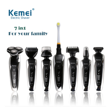 Buy Rechargeable 7 1 electric shaver washable hair trimmer face beard kemei electric razor men shaving machine grooming kit for $29.05 in AliExpress store