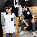 2016 Spring Kids Boys Shirts Long Sleeve Cotton Boy Shirt Casual Plaid Boys Blouses For 10