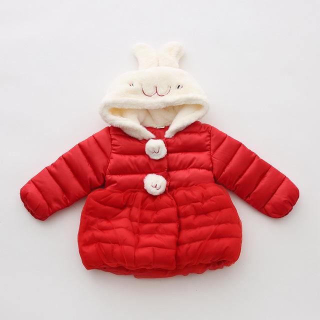Бренд кролик новорожденных девочек куртка осень зима детские пальто толстый новорожденных девочек вниз пальто красный фиолетовый девочка одежда infantil menino