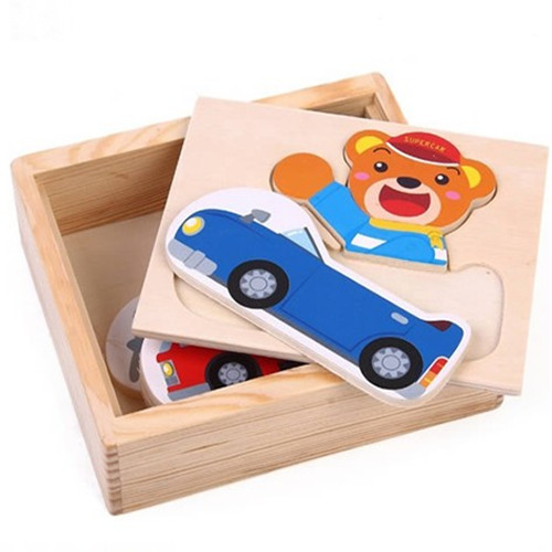 FreeShipping 2013 1pcs Animal Bear Cars Clothes Baby Childdren Wooden Puzzle Jigsaw Puzzle