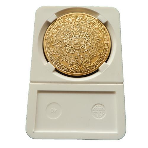 1 X  Mayan Aztec Calendar Souvenir Commemorative Coin Collection Gift  silver & gold plated