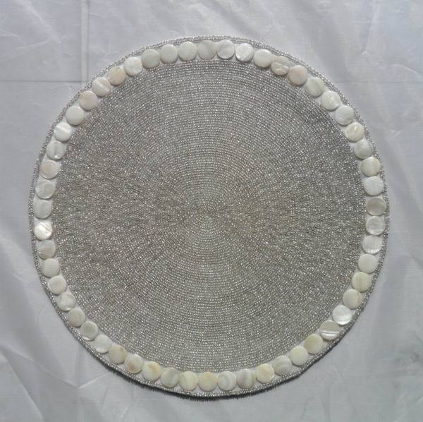 Sea table decorations Handmade placemat round beaded ...