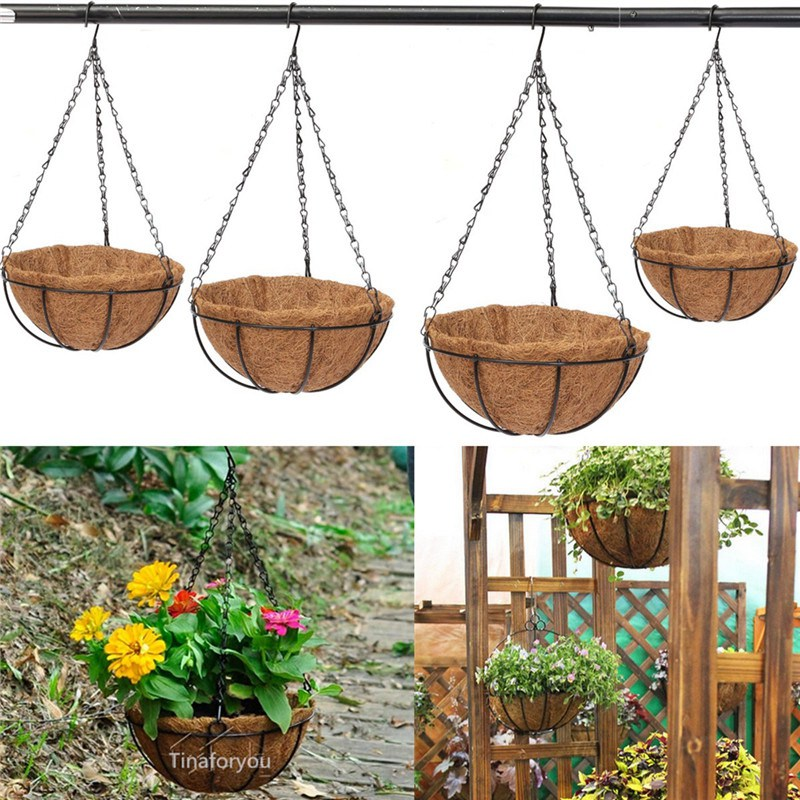 Wrought Coconut Half Round Plowerpot Hanging Pots Window Rattan Decorative Pots Wall Iron Garden Plant Planter Flower Basket(China (Mainland))