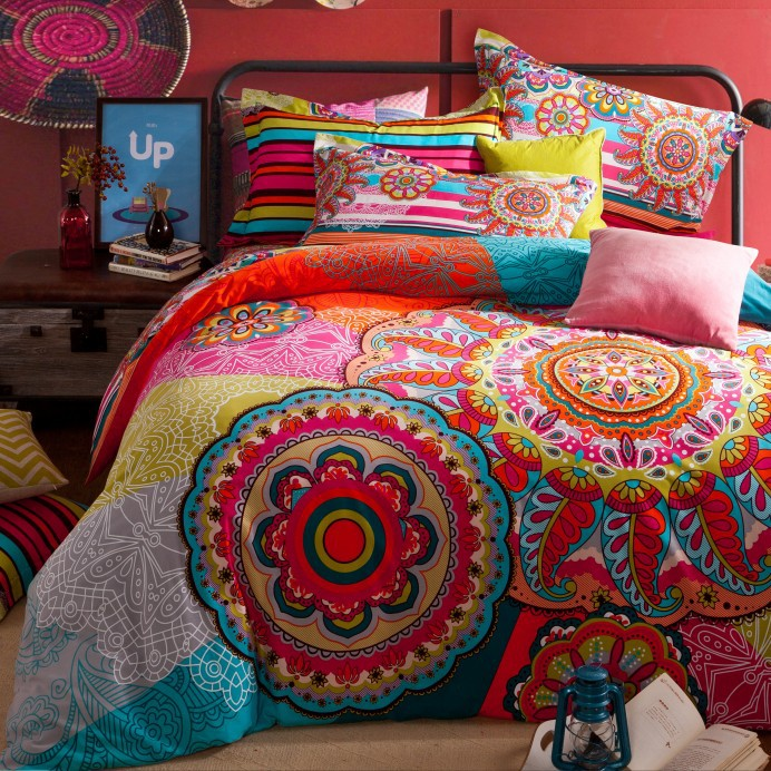 full queen size 100 cotton bohemian boho style colorful