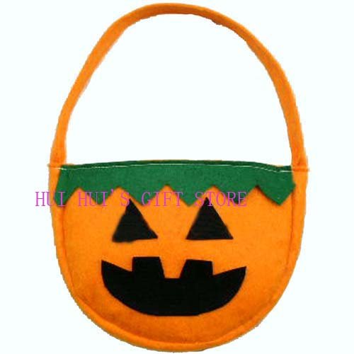 Free shipping ,20pcs/lot,Promotion,halloween pumpkin candy bag, halloween decoration,material:felt(China (Mainland))