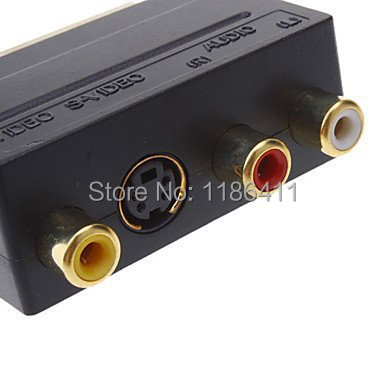 10PCS Scart Adaptor 3 x RCA S-Video svideo CCTV TV phono Adaptor(China (Mainland))
