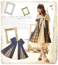 Autumn Japan Korean Style Mori Girl Kawaii Lolita Brief Cotton Patchwork Lace Mesh Lady Full Sleeve Plus Loose Size Casual Dress