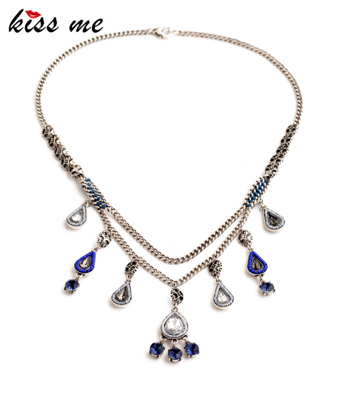 Unique Women Multilayer Imitation Sapphire Water Drops Tassle Fashion Romantic Necklace Designer Jewelry Factory - KISS ME Official Store store