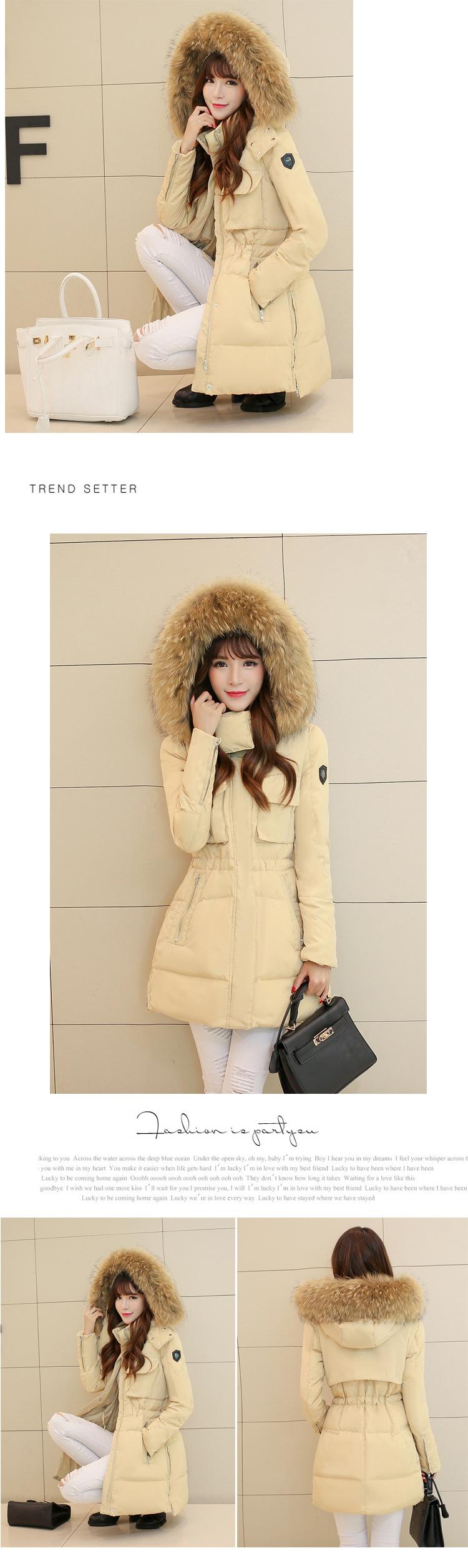 Скидки на Зимняя куртка женщин 2016 новый средней длины утолщение тонкий качество большой енот меховым воротником duck down пальто женские зимние верхняя одежда